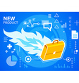 Bright fire and work suitcase on blue backgr vector