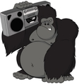 Monkey with a tape recorder vector