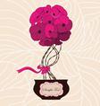 Flower bouquet in cute flowerpot vector