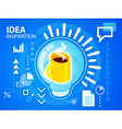Bright light bulb and coffee on blue backgro vector