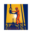 Worker on oil rig sealing well vector