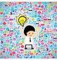 Template design businessman thinking idea vector