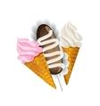 Ice cream waffle cone and cake potatoes vector
