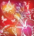 Background with flowers hibiscus and butterfly vector