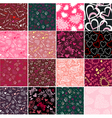 Romantic seamless patterns valentines day textures vector