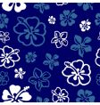 Seamless flower pattern over blue vector