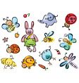 Cute animals and insects vector