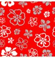 Seamless flower pattern over red vector