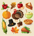 Set of colorful cartoon icons for thanksgiving day vector