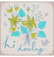 Cute greeting card with bunch of flower and ribbon vector