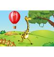 A giraffe running and a floating hot air balloon vector