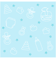 Baby boy elements blue background vector