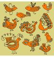 Set of hand draw doodle birds vector