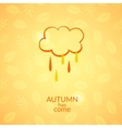 Cloud with raindrops autumn icon vector