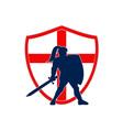 English knight silhouette england flag retro vector