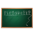 A blackboard with a drawing of kids dancing vector