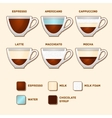 Cups with popular coffee types and recipes vector
