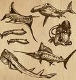 Underwater sea life set no3 - hand drawn vector
