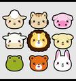 Animal head icons vector