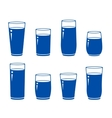 Set of isolated blue water glass vector