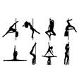Pole dance women vector
