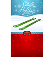 Winter holidays green skiing and red ski goggles vector
