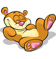 Happy bear lying on his back and resting - on vector
