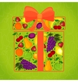 Gift from fruit decorated with a vector