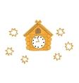 Wooden cuckoo clock vector