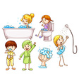 Simple coloured sketches of people taking a bath vector