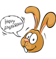 Easter bunny wish happy easter - cartoon isolated vector