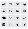 Black coffee icon set vector