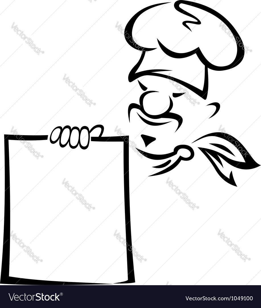 Chinese or japanese chef with blank menu vector | Price: 1 Credit (USD $1)