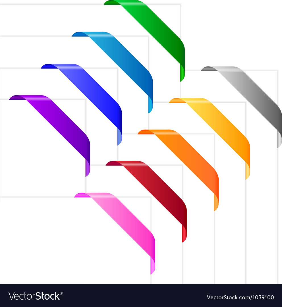 Corner ribbons in various colors vector | Price: 1 Credit (USD $1)