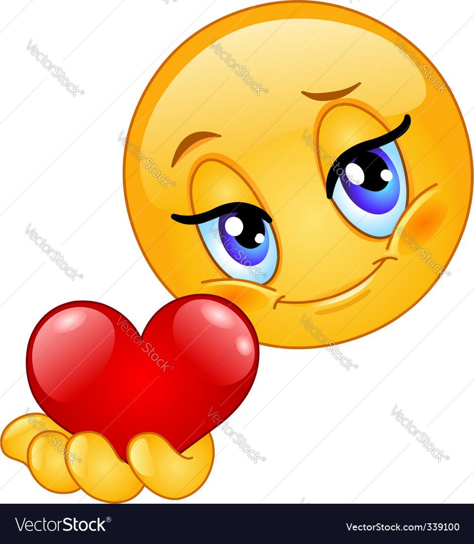 Emoticon giving heart vector   Price: 1 Credit (USD $1)