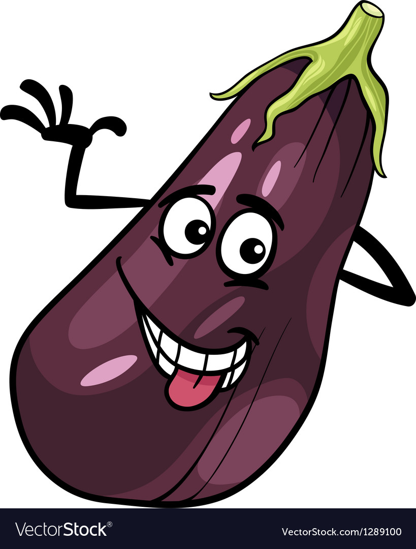 Funny eggplant vegetable cartoon vector | Price: 1 Credit (USD $1)