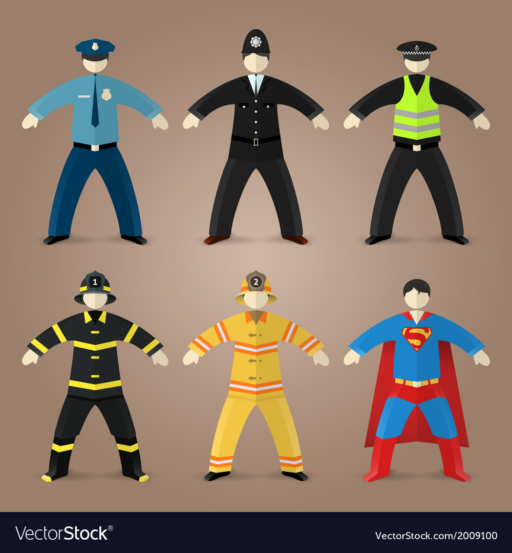 Professions set of policeman fireman and superman vector | Price: 1 Credit (USD $1)