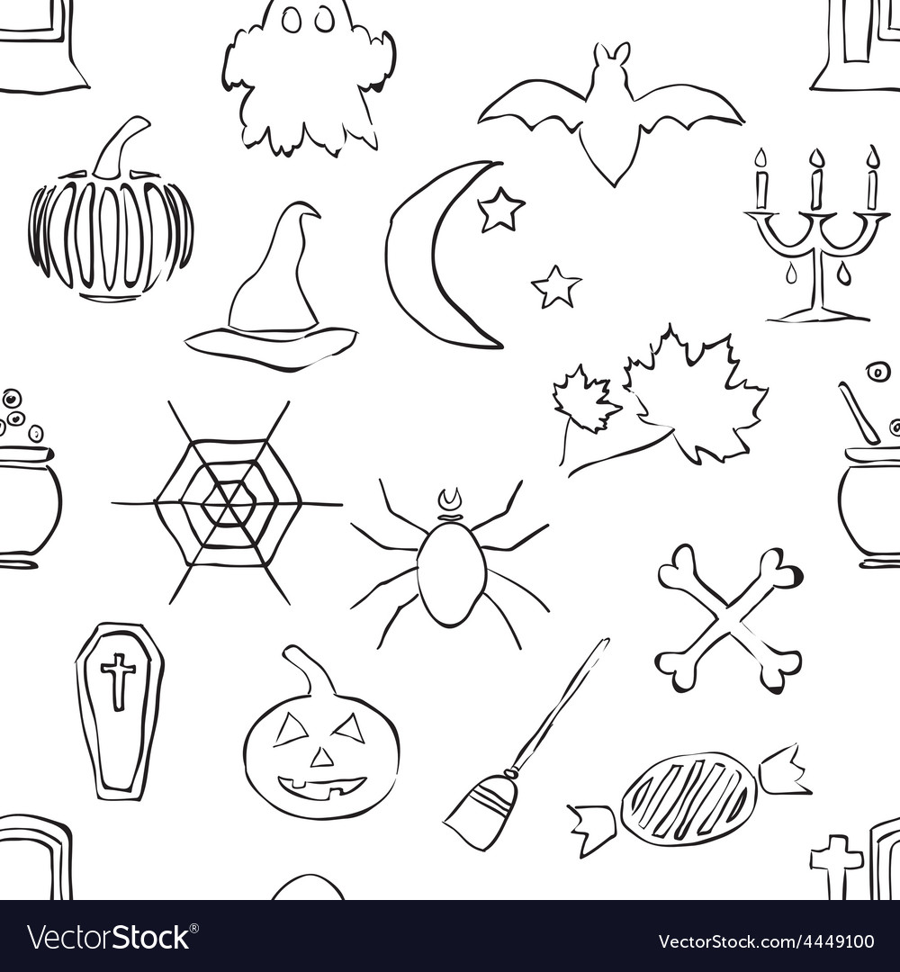 Seamless doodle halloween pattern vector   Price: 1 Credit (USD $1)