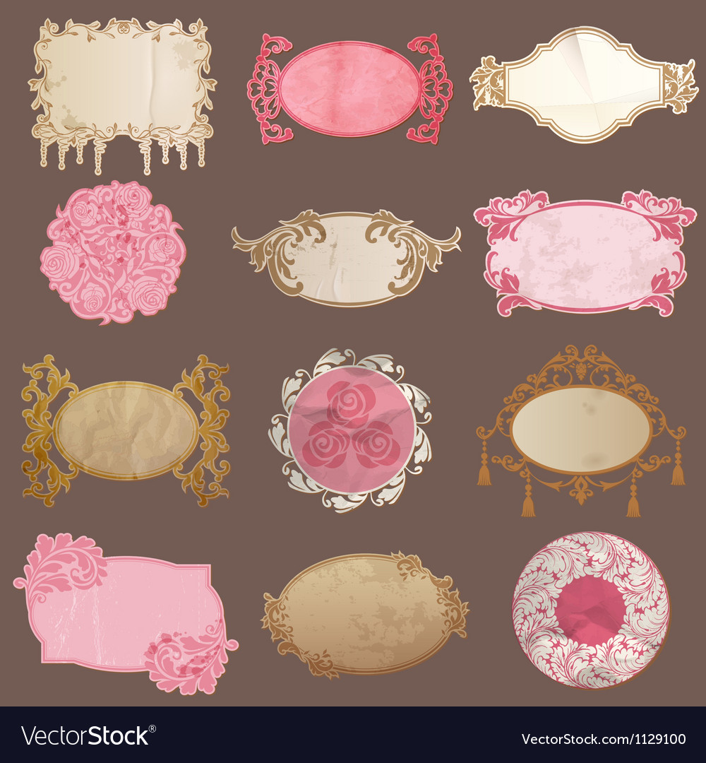 Set vintage paper frame collection vector | Price: 1 Credit (USD $1)