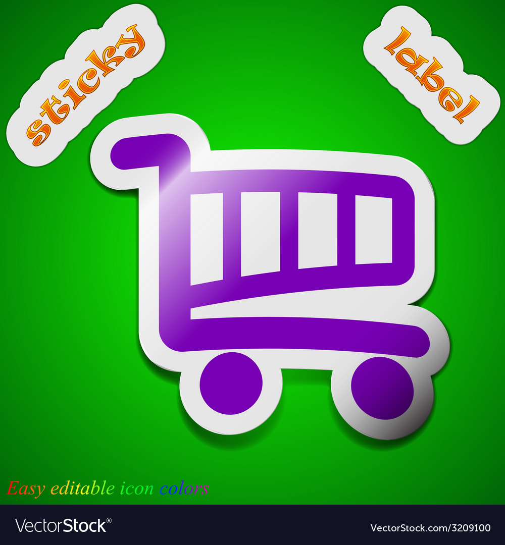 Shopping cart icon sign symbol chic colored sticky vector | Price: 1 Credit (USD $1)