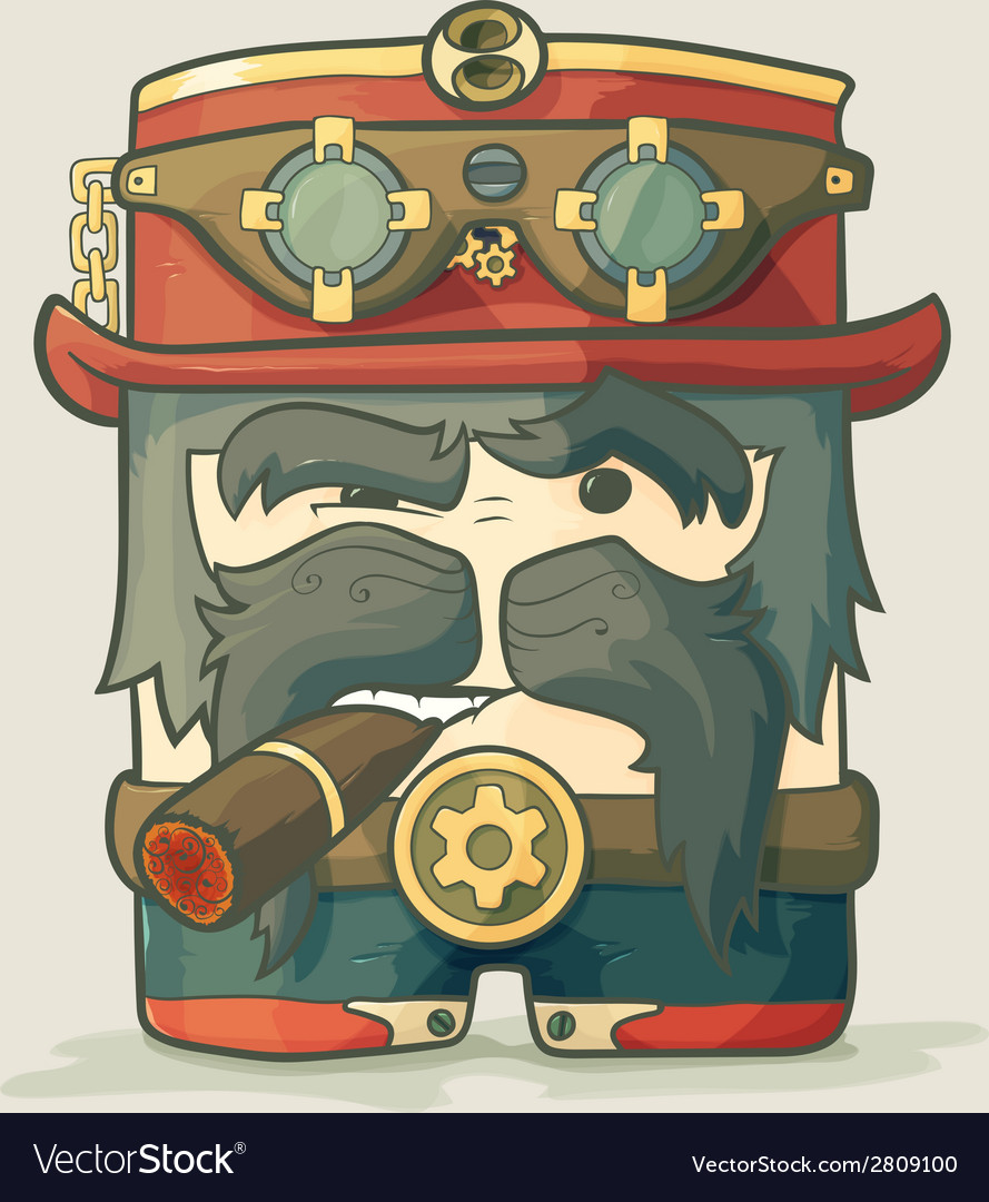 Steampunk dirigible pilot with goggles and hat vector | Price: 1 Credit (USD $1)