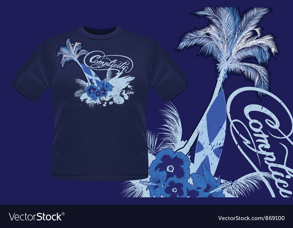 Summer t-shirt design with palm tree vector | Price: 1 Credit (USD $1)
