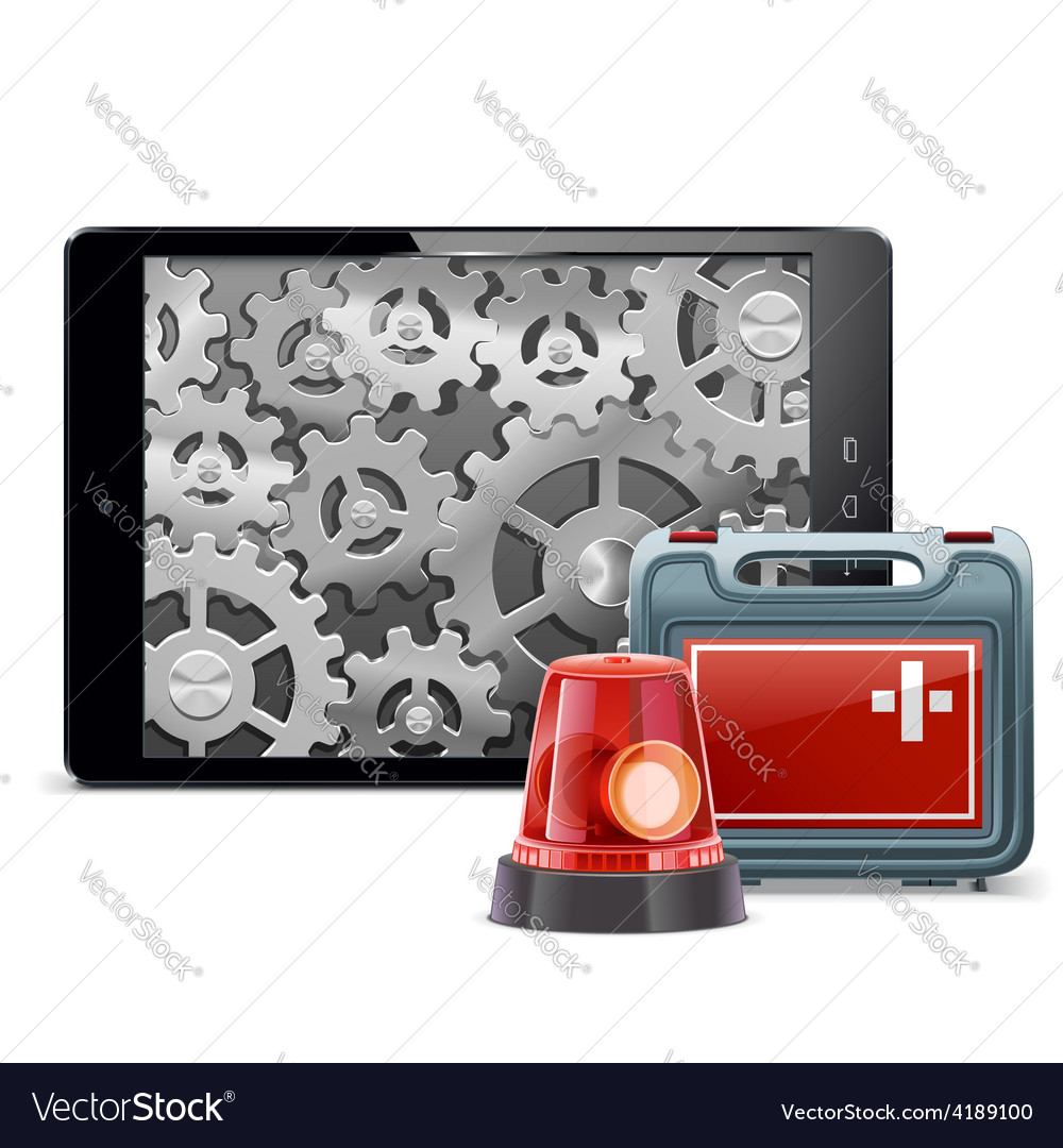 Tablet pc with emergency kit vector | Price: 3 Credit (USD $3)