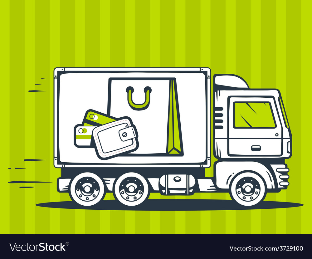 Truck free and fast delivering bag and mo vector | Price: 1 Credit (USD $1)