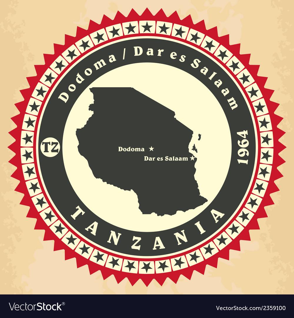 Vintage label-sticker cards of tanzania vector | Price: 1 Credit (USD $1)