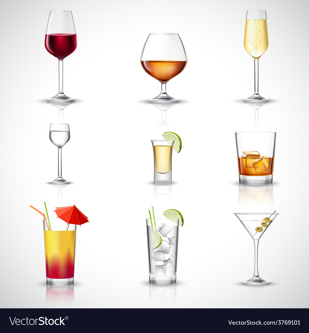 Alcohol realistic set vector | Price: 1 Credit (USD $1)