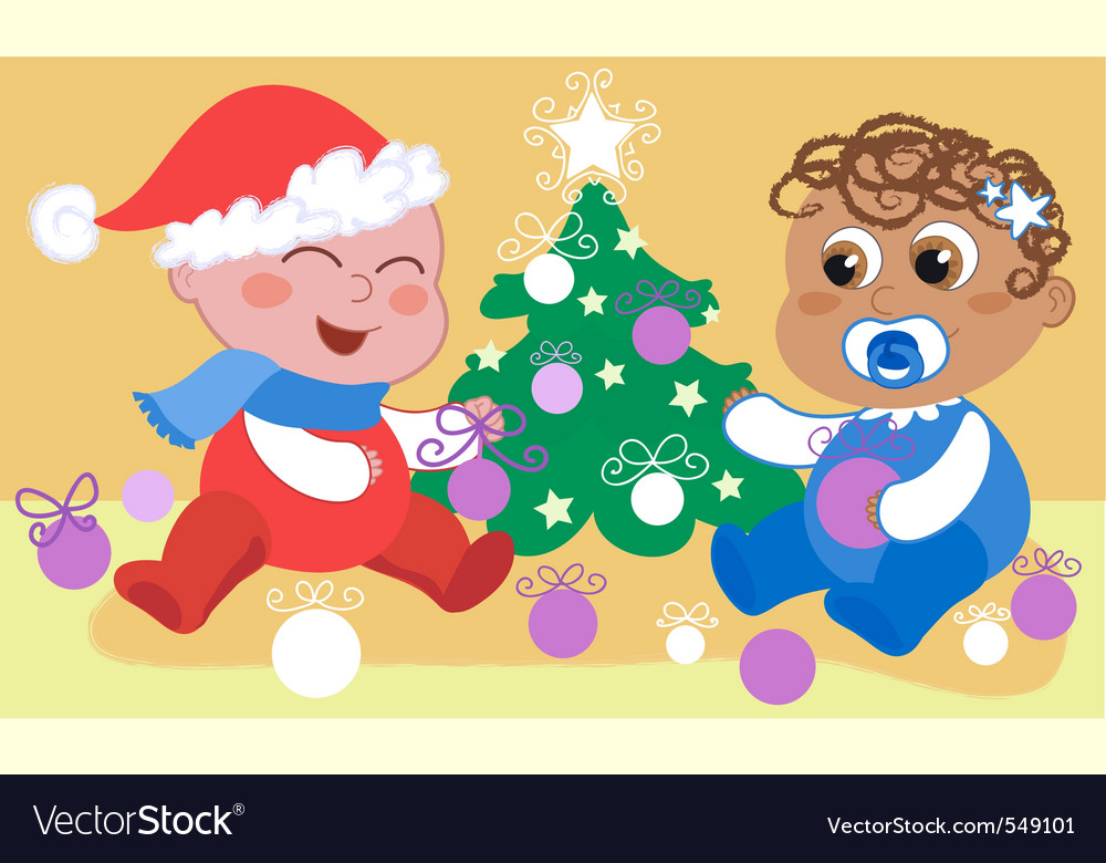 Babies and christmas tree vector | Price: 1 Credit (USD $1)