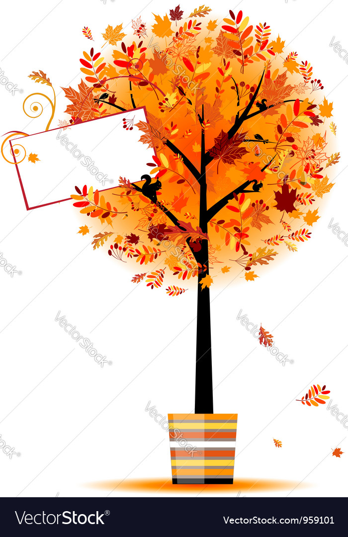 Beautiful autumn tree in pot for your design vector | Price: 1 Credit (USD $1)
