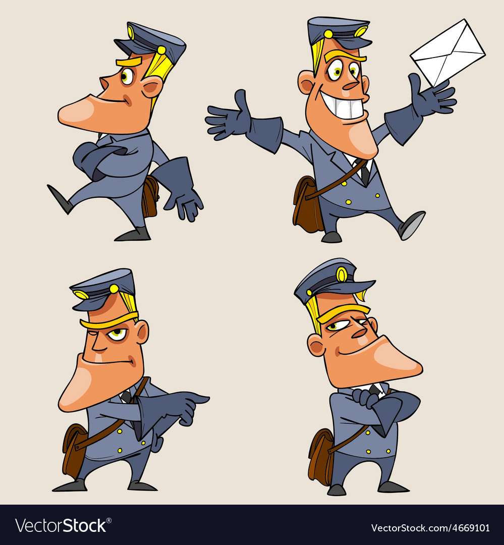 Cartoon character postman in various poses vector | Price: 3 Credit (USD $3)