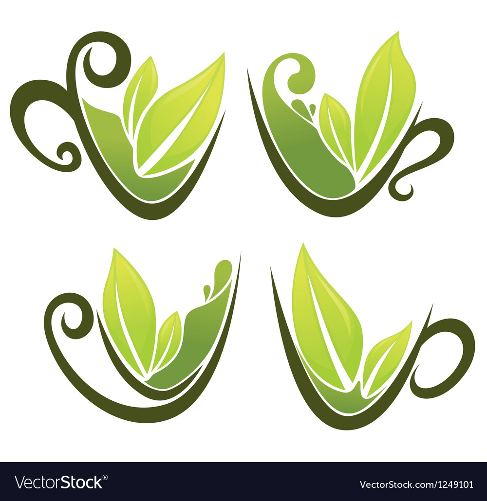 Cups full of green tea vector | Price: 1 Credit (USD $1)